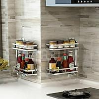 KỆ INOX SUS304 Xoay 180 Độ Để Gia Vị Nhà Bếp, Giá Để Đồ Phòng Tắm lắp đặt Khoan Tường hoặc Dán Tường - GX304