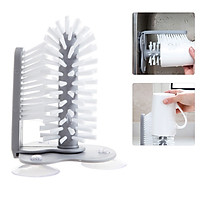 Water Bottle Cleaning Brush Glass Washer Brush Cleaner Glass Cup Washer with Suction Base Bristle Brush for Glass Cup
