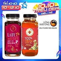 Combo mật ong rừng cao thảo dược Honimore Lady và mật ong rừng nguyên chất 670g - giúp ngủ ngon, chăm sóc sức khỏe phụ nữ
