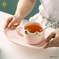 Bộ cốc sứ hình mèo SHOP10K Cốc sứ sáng tạo kèm muỗng và đĩa lót SP004751