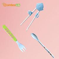 Bộ đũa tập ăn cho bé xỏ ngón, thìa muỗng nĩa ăn dặm cho bé từ bộ ngô Bamboo Life  hàng chính hãng Dụng cụ tập ăn cho bé