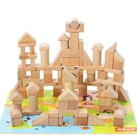 Đồ Chơi Gỗ Skids - Bộ khối xây dựng màu gỗ 100pcs, cho bé thỏa sức tưởng tượng và sáng tạo