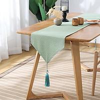 Khăn trải bàn table runner vải bố - Chấm bi xanh lá mạ - mẫu C04