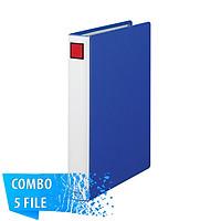 Combo 5 File đựng tài liệu A4S - 3cm - KING JIM 1473GSV còng ống cao cấp