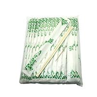 Túi 100 đôi Đũa gỗ bồ đề kèm tăm bao giấy xanh lá