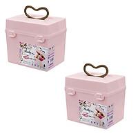 Combo 2 hộp đựng mỹ phẩm, đồ trang điểm (cỡ to) nội địa Nhật Bản