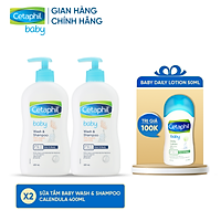 [Tặng 1 Sữa dưỡng ẩm Cetaphil Baby Lotion 50ml] Combo 2 Sữa tắm gội dịu nhẹ cho bé Cetaphil Baby Wash & Shampoo with Organic Calendula 400ml/chai