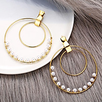 1 Pairs Of Earrings Alloy Retro Style Simple Golden Size Circle Winding Pearl Earrings