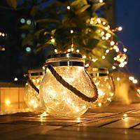 Combo 2 đèn trang trí hủ thủy tinh năng lượng mặt trời ánh sáng vàng - RB LIGHTING