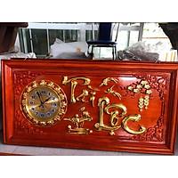 Tranh đồng hồ chữ  Tài - Lộc gỗ hương