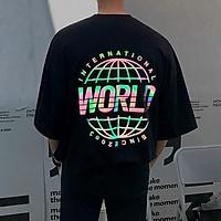 <FREE SHIP> Áo thun nam nữ unisex tay lỡ in phản quang chất thun co giãn 4 chiều (psworld)