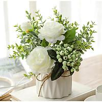 Hoa lụa, chậu hoa mẫu đơn điểm quả thảo để bàn trang trí quán cà phê, bàn làm việc sang trọng, lọ hoa decor phòng khách đẹp