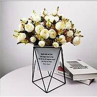 Hoa lụa, 10 bông hoa hồng trà Rose cao cấp kèm lá và cỏ điểm trang trí phòng khách, văn phòng công ty sang trọng HT-10