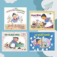 """Combo 4 cuốn Ehon với chủ đề: """"Cùng chơi với bà Ba Ba nào"""". Bao gồm: Trang trí giáng sinh - Dọn bùn - Xe trượt tuyết - Vất vả ngủ trưa."""