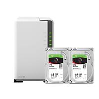 Combo: Thiết bị lưu trữ qua mạng DS220j  & 2 x Seagate HDD ST4000VN008 (Hàng chính hãng)