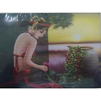 tranh đính đá Cô Gái Việt 77328 kt 64*50cm chưa đính