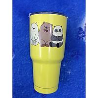 Ly giữ nhiệt Thái Lan 900ml _ tặng 2 ống hút inox + 1 túi xách + 1 cọ rửa ống hút _ 3 con gấu vàng