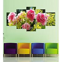 Tranh treo tường, tranh trang trí PP_ NT540 bộ 5 tấm ghép hoa mẫu đơn