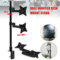 14~24'' Dual HD LCD LED Desk Mount Monitor Stand Bracket Screen TV 2 Arm Holder