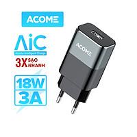 Cốc Sạc Nhanh ACOME AC01 3A Chuẩn QC 3.0 18W Cổng Sạc USB - Hàng Chính Hãng