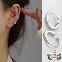 Bông Tai Bạc S925 Ear Cuff Kẹp Vành Khoen C Đính Đá CZ Trẻ Trung Cá Tính | Khuyên Tai Nữ Trang Sức Bạc Thời Trang