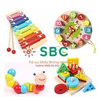 Combo 4 món đồ chơi gỗ cho bé gồm đàn gỗ 8 âm, đồng hồ xâu dây, trụ thả hình, sâu gỗ bé học màu sắc hình khối tư duy
