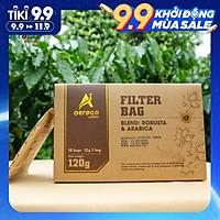 Cà phê AEROCO nguyên chất 100% rang mộc hậu vị ngọt thơm quyến rũ, CF phin giấy hộp 120g túi lọc