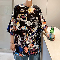 2 Color【M-3XL】 Summer New Style Fashion Trend Printed Graphic Short Sleeve T-shirt Men Breathable Unisex Half Sleeve T-shirt Oversize Student Couple Short T-shirt Couple Wear