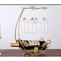 Kệ rượu vang kèm giá treo ly tiện lợi