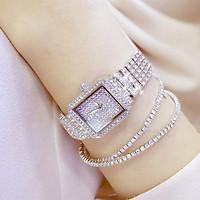 Đồng hồ dây kim loại thời trang nữ Dgd1, mặt vuông đính full siêu đẹp - không kèm vòng tay