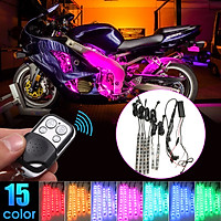 Motorcycle CAR Flexible Multi 15 Color SMD RGB 6 Strip LED Light + Remote
