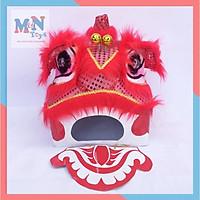 Đầu lân trung thu Sài Gòn mắt có đèn Kích Thước 35cm x 29cm x 27cm - Màu Đỏ - kèm đuôi