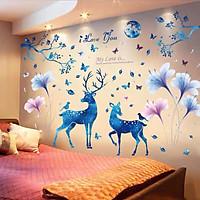 Decal dán tường Hươu xanh và hoa xanh tím - HP506