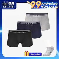 Combo 3 quần lót nam Boxer sợi cotton organic mềm mịn thoáng mát co giãn 4 chiều MRM Manlywear ( TẶNG Đôi Tất Nam Cao Cấp Giao Ngẫu Nhiên)