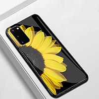 Ốp lưng Samsung Galaxy A51 in 3D hoa hướng dương mặt lưng kính sáng bóng (MK48)