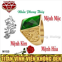 Nhẫn Phong Thủy Nam đá Xanh Lá, Đỏ, Đen | Nhẫn Nam Titan Phong Thủy NMKIM, NMMOC, NMHOA