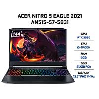 Laptop Acer Nitro 5 AN515-57-5831 (Core i5-11400H/ 8GB DDR4 3200MHz/ 512GB SSD M.2 PCIE/ RTX 3060 6GB GDDR6/ 15.6 FHD IPS, 144Hz/ Win10) - Hàng Chính Hãng