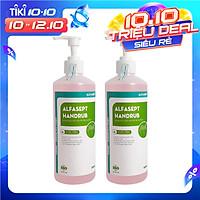 Set 2 chai Nước rửa tay sát khuẩn gia đình Alfasept Handrub 500ml- Tinh chất Nha Đam