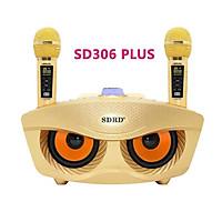 Loa karaoke không dây di động hai Mic, Loa kéo micro ko dây hình mắt cú công suất cao SD 306 - Hàng chính hãng