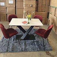 Bộ bàn ăn mặt đá cao cấp chân chéo chữ X kèm 4 ghế