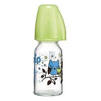 Bình Sữa Thủy Tinh Cổ Thường Nip NIP35069 Cho Bé Trai 125ml - Núm Ty Silicon Size S Dòng Chảy Chậm