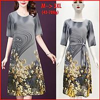 Váy Đầm Trung Niên Dự Tiệc Form Rộng Bigsize Kiểu Đầm Suông In Hoa Đỏ Lớn - THỜI TRANG TRUNG NIÊN ROMI 3314  - XÁM HOA TRẮNG 3244 - L 53-58KG