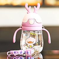 Bình nước cho bé, Bình nước có ống hút cho bé tập uống có van chống sặc cao cấp 300ml bằng nhựa PP chịu nhiệt tốt có tay cầm tiện lợi – BN010