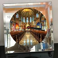 Đồng hồ thủy tinh vuông 20x20 in hình Cathedral - nhà thờ chính tòa (82) . Đồng hồ thủy tinh để bàn trang trí đẹp chủ đề tôn giáo