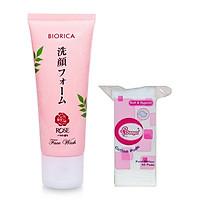 Combo 1 sữa rửa mặt trắng da sạch nhờn hoa hồng Biorica nhật bản ( 50g) + 1 bông tẩy trang ( gói 50 miếng)