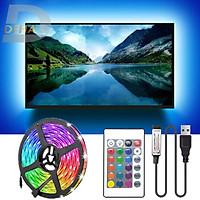 Bộ Đèn led dây dán nguồn USB RGB đổi màu 1M/ 2M/ 3M/ 5M điều khiển chọn màu đứng yên, nhấp nháy, bóng 5050 strip light trang trí cây máy tính, màn hình, ti vi, TV, Gaming, Tiktok dán tường, chống nước bền đẹp- Chính hãng DEHA