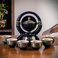 Bộ ấm chén pha trà thác nước sm001 - xanh đen trắng 9 món