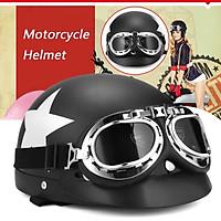 Matt Black Motorcycle Half Open Face Helmet Biker Scooter Visor UV Goggles Retro