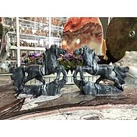 Tượng Ngựa phong thủy rước công danh tài lộc đá cẩm thạch vân đen để bàn - Dài 25 cm