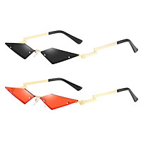 2x Womens Slim Cat Eye Sunglasses Rimless Sun Glasses UV400 Club Eyewear
